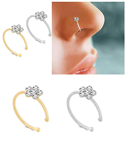 KUYIUIF Silver Gold Thin Diamond Flower Clear Crystal Nose Ring Stud Hoop-Sparkly Crystal Nose Ring (2 pcs)