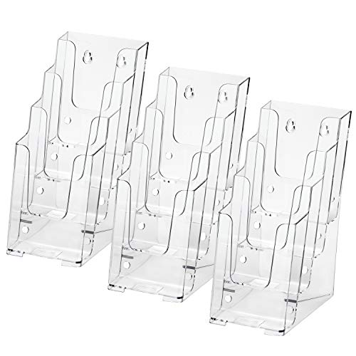 MaxGear Acrylic Brochure Holder 4-Inch Wide 4 Tier Clear Literature Holder Premium Acrylic Multi Pocket Display Stand, Wall Mount or Counter Top Use(3 Pack)