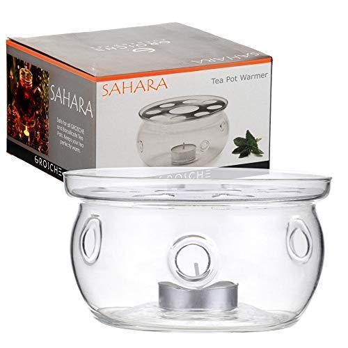 SAHARA Teapot Warmer by GROSCHE; Heat proof High Quality Glass,In original Grosche branded box