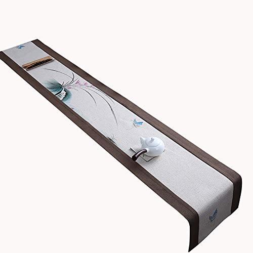 Chemin de table fabriqué à la Main, modèle dessiné à la Main, adapté à la Table à Manger/Table Basse/Meuble (Couleur : B, Taille : 30×180cm)