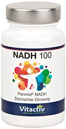 NADH 100 + Ginseng - die Energiepille der Stars. Von Nobelpreisträgern empfohlen. Mit dem patentierten, biologisch aktiven PANMOL®-NADH + sibirischem Ginseng. 60 Kapseln (für bis zu 60 Tage)