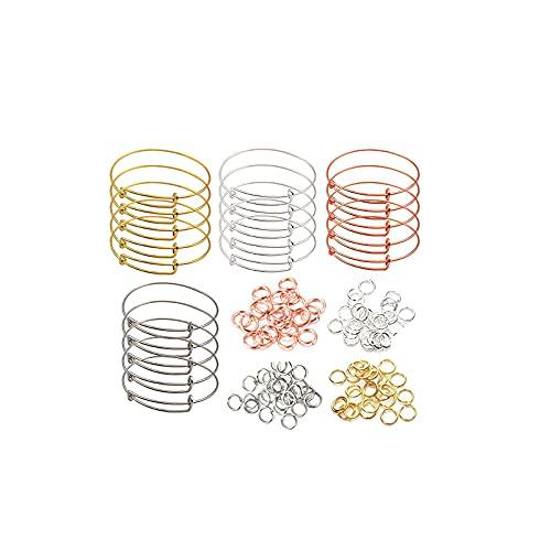 LTXDJ Kit de fabricación de pulseras de 300 piezas, juego de fabricación de brazaletes de bricolaje, exquisita herramienta de fabricación de joyas con hermosa caja de regalo para niña, esposa, hermana