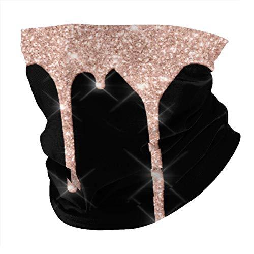 Máscara facial unisex de microfibra para el cuello, pasamontañas con purpurina brillante, rosa, oro rosa, rubor, negro, reutilizable, transpirable, tela para protección contra rayos UV, sol y polvo