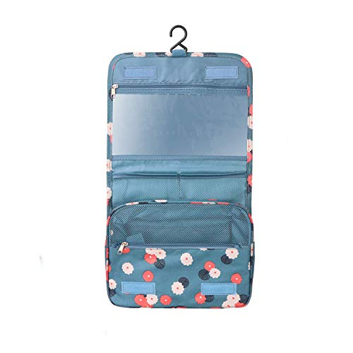 BryTravel Hanging Toiletry Bag Portable Makeup Comestic Organiser Folding Travel Wash Bag Idea for Men Women Travelers Long-Distance Drivers with Multi Pockets (Blue Flower)