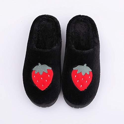 ZPZZPY Zapatillas de casa para Pisos Antideslizantes cálidos con Flocado de Frutas para Mujer Zapatos de Interior para Hombres Zapatillas de Interior de Gran tamaño