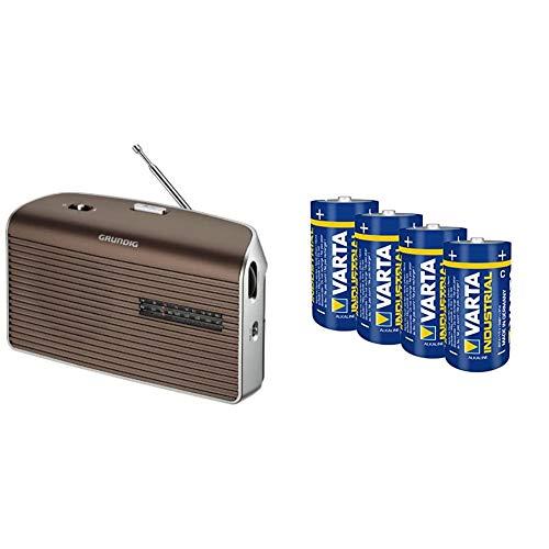 Gr&ig Music 60, empfangsstarkes Radio im modernen Design, Brown/Silver und Varta Industrial Alkaline Batterie Baby C/LR14 (4er-Pack)