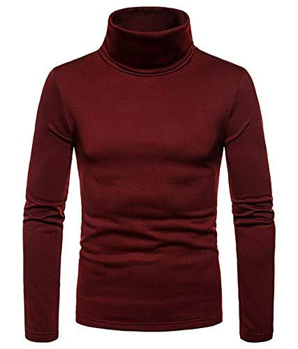 DELIMALI Jersey para hombre, color liso, cuello alto, ajuste delgado, elástico, manga larga, camiseta