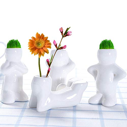 Minelife 4 Pack Ceramic People Planters for Air Plants, Air Plant Holder Air Head Planters, Top Table Display Planters for Air Plants and Other Mini Plants