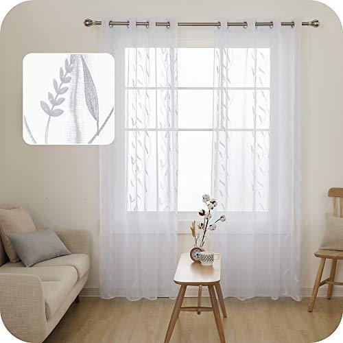 UMI. by Amazon Cortinas Translucidas Decorativas con Motivos Espiga de Trigo con Ojales 2 Piezas 140x290cm Blanco