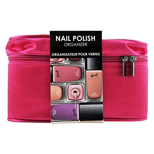 Gloss! - Organizador de Barniz de Uñas de color Rosa - Hermoso bolso organizador de uñas de seda rosa - 20 lugares para sus barniz y bolsillos para guardar sus ustensiles