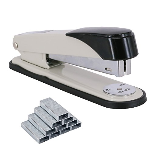 EWO'S New stapler with staples, long arm stapler with 1000 staples 50 sheets print papers-white