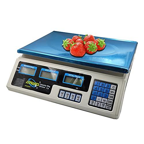 AOMEX Bilancia digitale professionale commerciale da 40 kg CON BATTERIA RICARICABILE e alimentatore