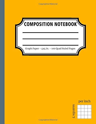 Yellow/Gray Graph Paper Composition Notebook: Grid Paper Notebook, 100 Quad Ruled Pages (Large, 8.5x11): Allrounder Notebook. 4x4 (0.25