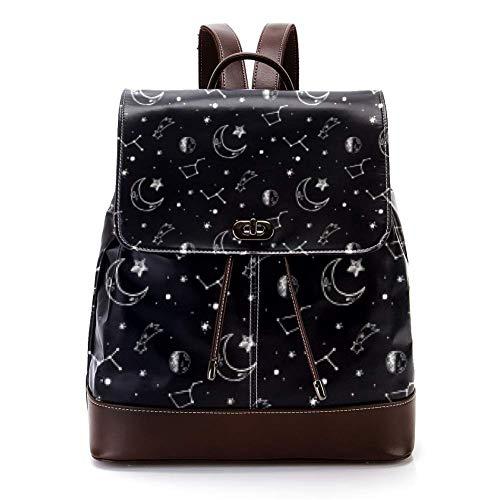 Mochila casual de cuero de la PU para los hombres, bolso de hombro de las mujeres estudiantes mochila para los viajes de negocios de la universidad fantasía estrella luna 🔥