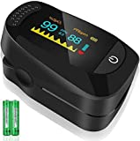 TSAI C101A2 Fingertip Pulse Oximeter,Portable Digital Reading LED Display, Batteries and Carry Case Included (Black - C101A2)