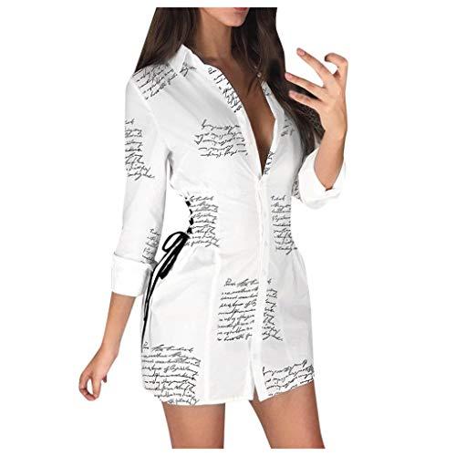 SANNYSIS Damen Langarm Hemdkleid V-Ausschnitt Elegant Kurz Blusenkleid Sexy Shirt Kleid Oberteil Kleid Bodycon Minikleid mit Gürtel Boho Drucken Sommerkleid Kleider (M, Weiß A)