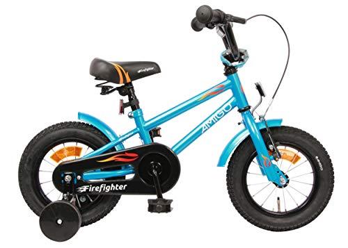 AMIGO Firefighter Kinderfahrräder Jungen 12 Zoll 17 cm Jungen Rücktrittbremse Blau