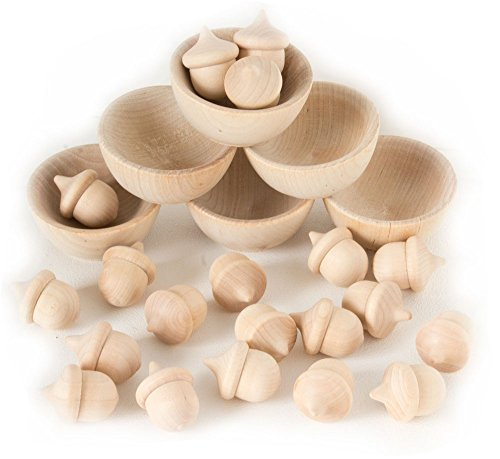 Wooden Acorns Counting & Sorting Kit - Unfinished Wood
