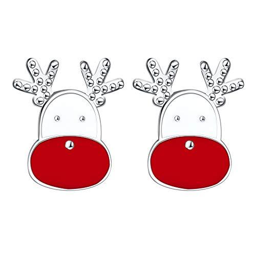 J.Endéar Pendientes navideños de plata de ley 925, pequeños pendientes bonitos para niñas y mujeres, hipoalergénicos