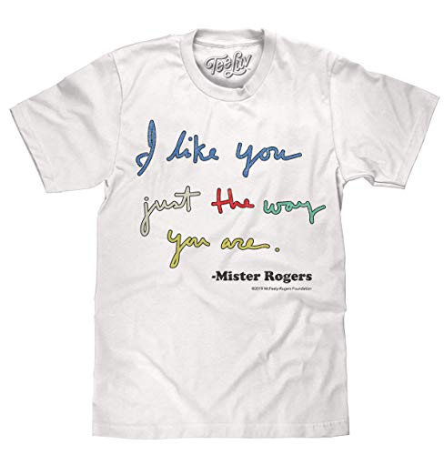 Tee Luv Mister Rogers T-Shirt - I Like You Mr Rogers Shirt (Large) White