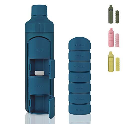 YOS Health Bottle Combo Blau   Pillenbox Wasserflasche (4 + 7 Fächer)   375ml Trinkflasche mit Tablettenbox   Trinkflasche mit Tablettenfach