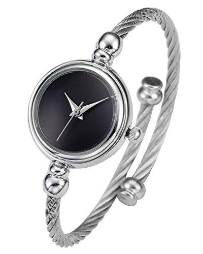JSDDE Uhren Damen Armbanduhr Chic Manschette Damenuhr Spangenuhr Zeitlos Design Armreifen Quarzuhr Silber Schwarz