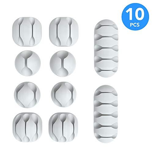 EAZY CASE 10x Kabelclips zur Kabelbefestigung, verschiedene Größen, elastisch & selbstklebend I Kabel Befestigungsclips, Kabelhalter für Kabelmanagement, flexibel, Weiß