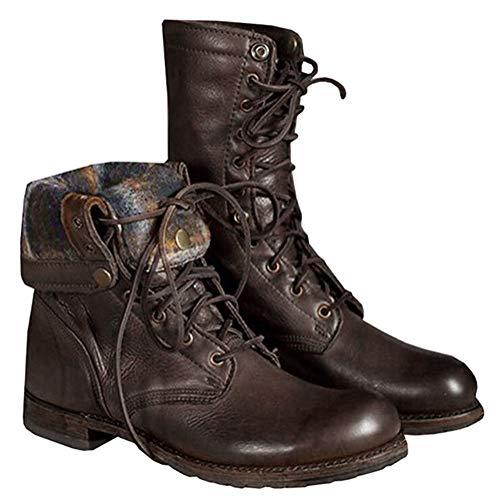 ORANDESIGNE Herren Motorradstiefel Winter Männer Leder Kurzschaft Stiefel Unisex-Erwachsene Schneestiefel Combat Worker Boots (42 EU, Braun)