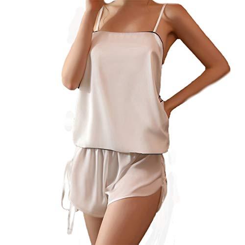 YLXB Pijamas Sexis con Espalda Abierta para Mujer, Ropa de Dormir sin Mangas de Seda, Pijama Babydoll, Pantalones Cortos con Tirantes de imitación, Conjunto para el hogar