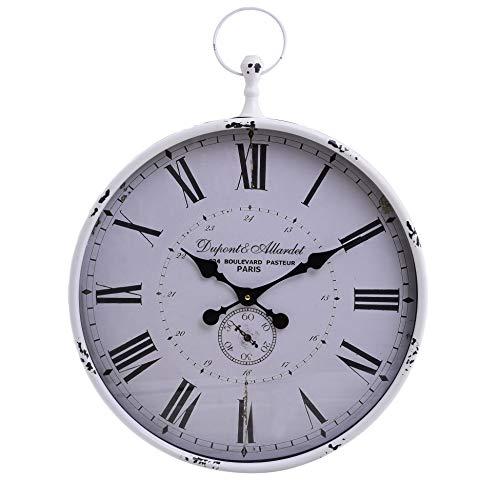 Inart - Reloj de pared metálico (50 x 7,5 x 60 cm), diseño antiguo, color blanco