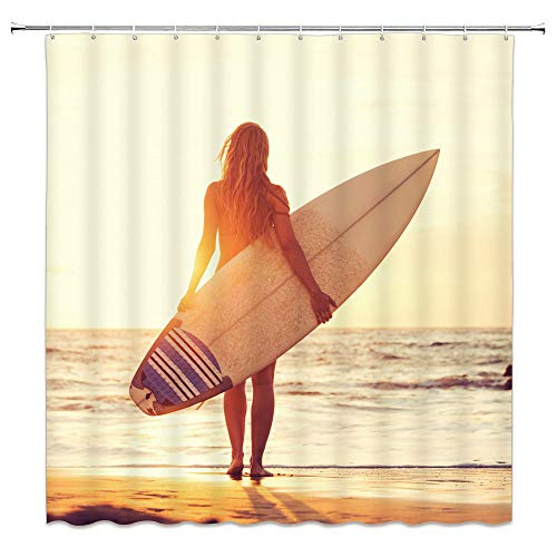 ZSQQSCL Cortina Baño, Sexy Beach Kayak Belleza Patrón Cortinas,Impermeable- Antimoho -Antibacteriano- Cortinas De Ducha Anillos De 12 Cortina Incluidos - para Hotel De Baño En Casa