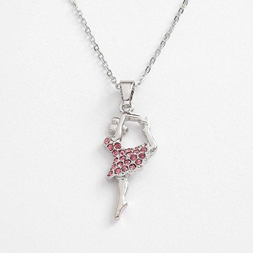 Talbot Fashion Roze diamante ballerina hanger aan ketting