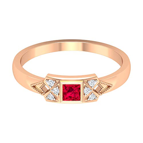 Rosec Jewels 14 quilates oro rosa round-brilliant-shape princess-shape H-I Red Diamond Ruby
