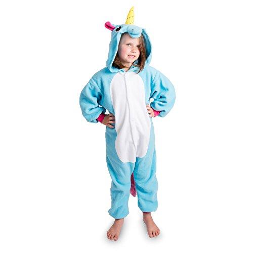 Emolly Fashion Kids Animal Unicorn Pajama Onesie - Soft and Comfortable with Pockets (10, Blue)