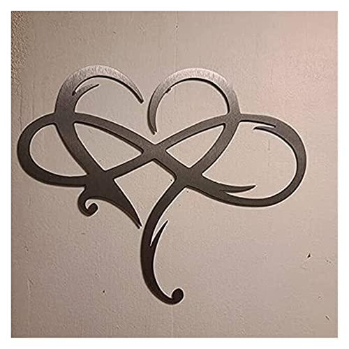 Infinity Heart Metal Wall Art -Always & Forever Infinity, Infinity Heart Steel Wall Decor Metal Wall Art Love Wall Teken voor Home Wedding Decor (Color : 12 X 10 Inches)