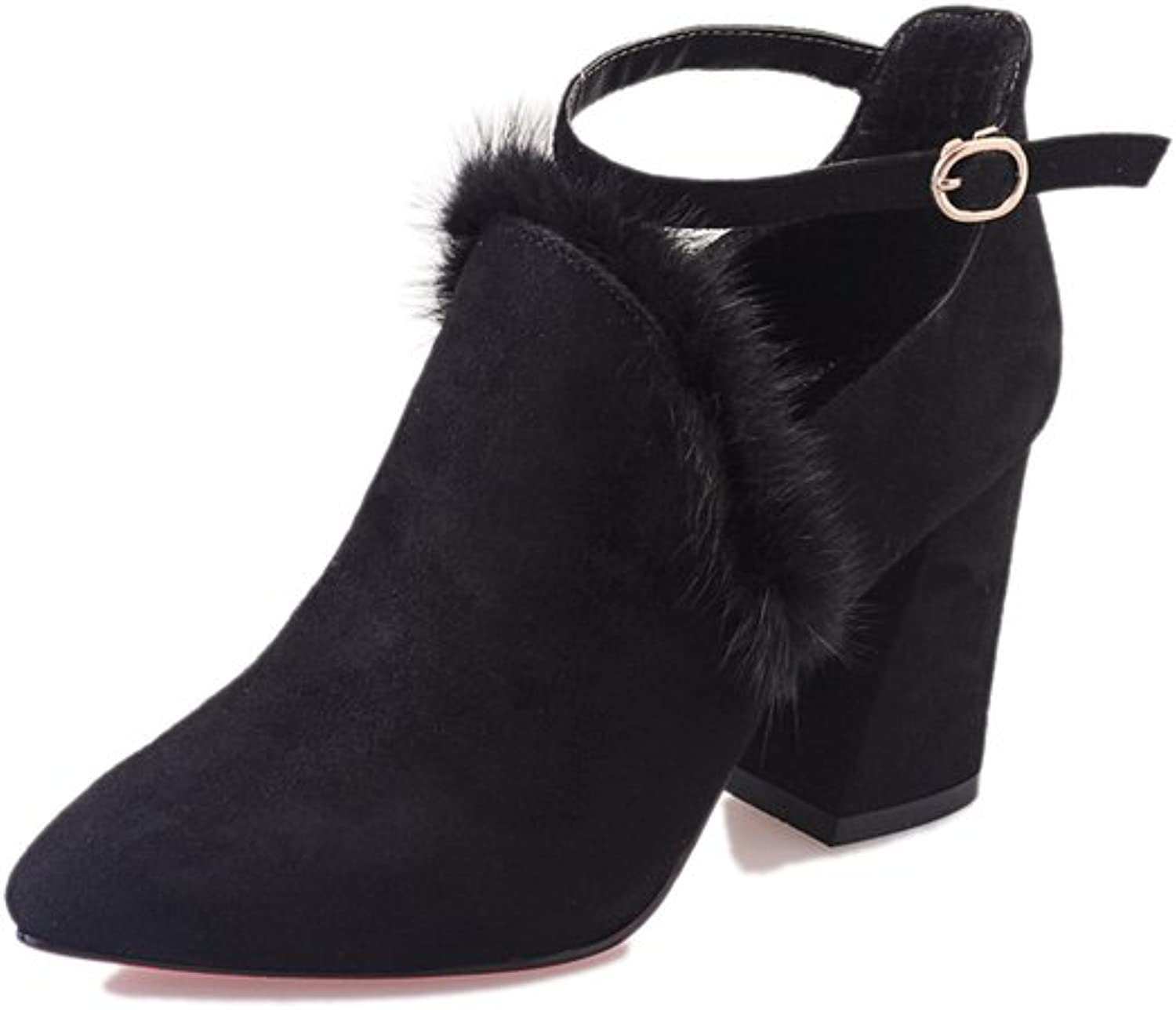 Europe in autumn matte suede pointed thick heel and high button shoes