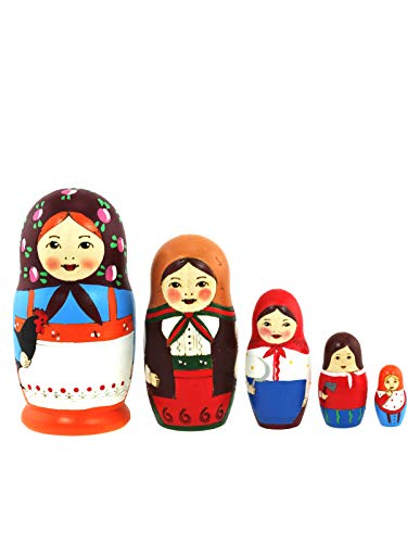 Azhna Matroschka-Puppe, 10,5 cm, Holz, gebrannt und handbemalt, russische Puppe, 5 Stück
