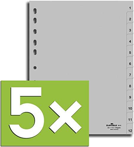 Durable Register für DIN A4, volldeckend (5er Pack - grau, 1-12)
