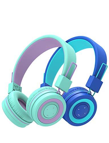 iClever 2-pack barn bluetooth-hörlurar, trådlösa hörlurar med mikrofon, 85 dB volymbegränsad, justerbart pannband, vikbar, barnhörlurar för skola/resa