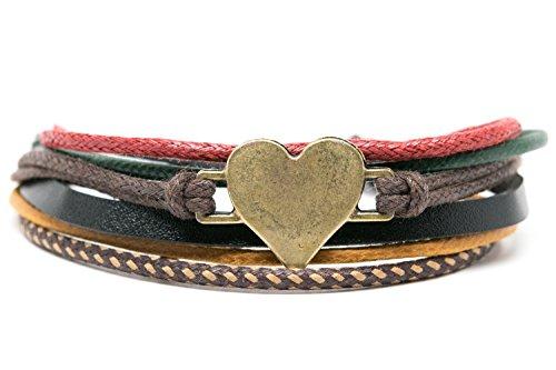Orti Jewelry Heart Emoji Bracelet Original Emoji Fashion Bracelet – Handmade Leather, Metal & Rope Bangle, Stylish Design, Adjustable Unisex Jewelry, Adorable Romantic Gift Idea