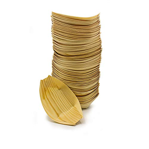 Silverkitchen 100x Bio Fingerfood Schale | Einweg Holz Schiffchen 8 x 5,5 cm | umweltfreundlich 100% natürlich | nachhaltiges Einweggeschirr | für Geburtstag Hochzeit Picknick Grillfest Gartenparty