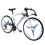 Sonxy 2021 New Road Bike 700c Bicycle Cycling for Mens Womens Teen with 21 Speed Disc Brakes&Full Suspension Commuters White