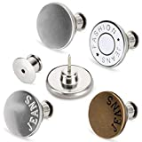 [Upgraded] 8 Sets Button Pins for Jeans, TOOVREN Perfect Fit Jean Button Replacement, 4 Styles Adjustable Jean Button Pins Metal Clips Snap Tack, No Sew Instant Extend or Reduce Any Pants Waist