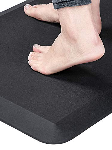 Anti Fatigue Standing Desk Pad - Comfort Floor Mat for Kitchens, Standing Desks and Garages, Relieves Foot, Knee, and Back Pain, Thicken Core Foam Phthalate Free (20x32x3/4-Inch, Black)