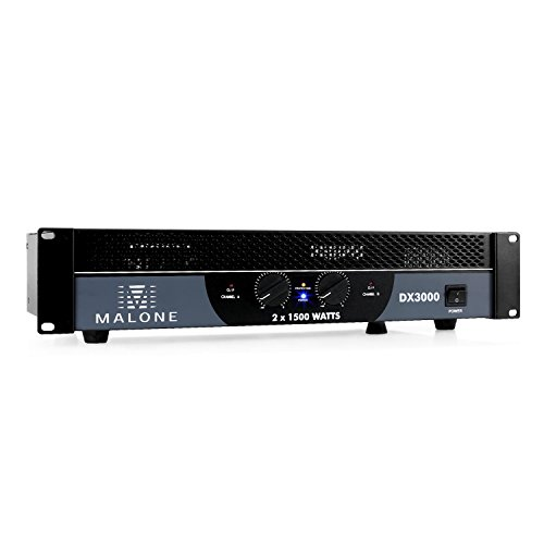 MALONE DX3000 - PA-Endstufe, PA-Verstärker, 2 x 1500 W max, brückbar: 2/1 Kanal-Betrieb, 48cm Rackeinbau, 2 x Klinken- & Cinch-Line-In, 2 x PA-Ausgang, LED-Anzeige, Metallgehäuse, schwarz