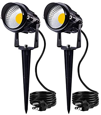 SUNVIE Outdoor Landscape LED Lighting 12W Waterproof Graden Lights COB Led Spotlights with Spiked Stand for Lawn Decorative Lamp US 3- Plug 3000K Warm White (2 Packs)