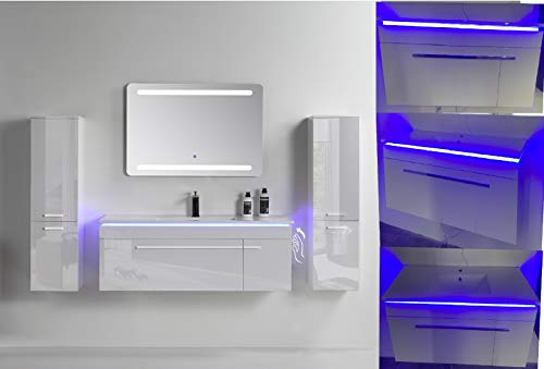 Badmöbel Waschbecken mit Unterschrank, Hochglanz, Weiß, Königsblau, Schwarz, Spiegel mit LED Bademöbel Waschtisch Standunterschrank Keramik ,Granit , Badezimmer Möbel mit Badschrank 120cm (Weiß)