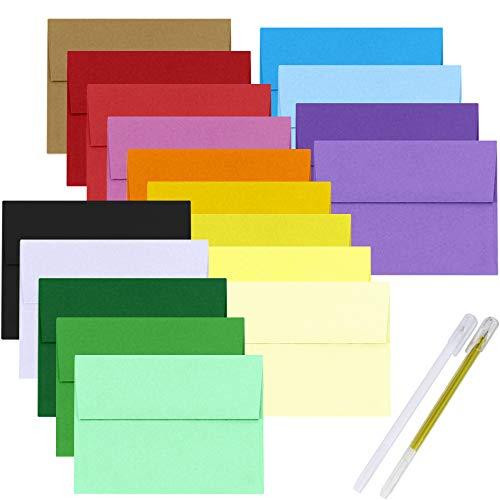 90 Pack 18 Color 5x7 Envelope A7 Invitation Envelopes Self Seal Greeting Card Envelopes Bulk Photos Envelopes White Ivory Red Green Kraft Yellow Pink Blue Envelops Square Flap Announcements Envelopes
