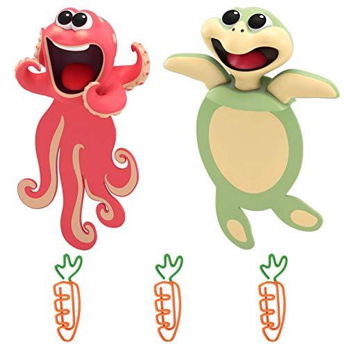 3D Witzige Cartoon Tier Lesezeichen, Lustige Verrückte Tierfigur Lesezeichen für Kinder, Lustiges Geschenk für Kinder Jungen Mädchen Studenten und Erwachsene (Krake & Meeresschildkröte)