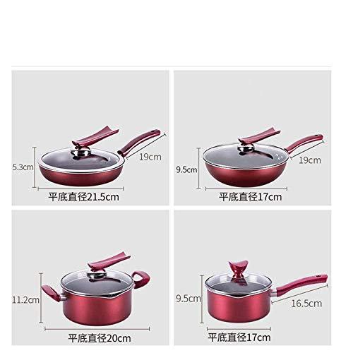 Pan pot set zonder deksel, Pan met deksel (anti-aanbak pan), Cookware set combinatie wok nonstick pan set, keuken 4-delige soeppan koekenpan-Red vier-delige suit_M, Compatibel met alle inductie cooke
